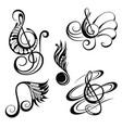 music notes design elements set vector image