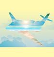 double exposure airplane flight on exotic islands vector image