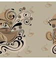 seamless pattern with coffee beans and cups vector image
