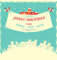 Merry christmas and new year card with bullfinches vector image
