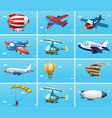 different types of aircrafts vector image vector image
