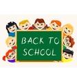 Happy boys and girls near school board vector image