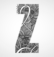 Letter Z from doodle alphabet vector image
