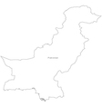 Black White Pakistan Outline Map vector image
