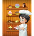 A chef in front of the baked goodies vector image