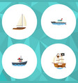 flat icon boat set of yacht transport vessel and vector image