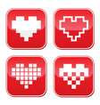 Pixel heart love buttons set vector image