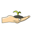 Plant to hand cartoon icon on white background vector image