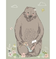 cute bear with little girl vector image