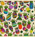 pineapple set sketch for your design vector image