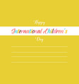childrens day greeting card style vector image