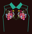 beautiful flowers embroidery for textile design vector image