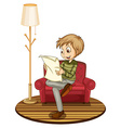 Boy reading newspaper vector image vector image