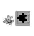 metal safe with a lock as a jigsaw puzzle vector image