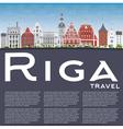 Riga Skyline with Landmarks Blue Sky vector image