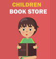 children book store banner with boy rreads vector image