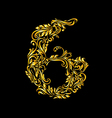 Decorated six digit on black vector image