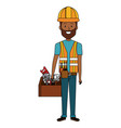 repairman builder with toolbox avatar character vector image