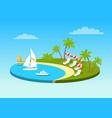 tropical beach on sunny ocean shore circle concept vector image