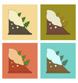 assembly flat icons snow avalanche spruce vector image