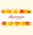 fall invitation card design with leaves vector image