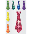 Bright plaid silk tie stickers in format vector image