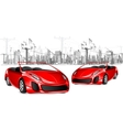 Car on Cityscape Background vector image