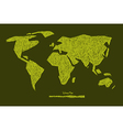 Paper Hand Drawn Green World Map vector image vector image