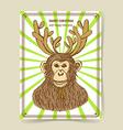 Sketch monkey with reindeer antlers vector image