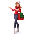 Smiling woman in Christmas outfit with shopping vector image