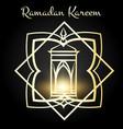 ramadan kareem poster with golden lamp vector image