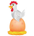 Hen cartoon with giant egg vector image