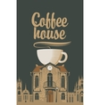 old house with a cup of coffee vector image