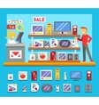 Computer Shop Interior Seller Goods Offer Sale vector image