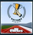 colorful vintage sport trophy poster vector image