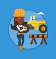 confident builder with arms crossed vector image