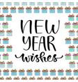new year wishes handwritten christmas greeting vector image