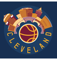 Cleveland Ohio Usa flat design with basketball vector image