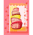 Bright birthday cake Postcard with place for your vector image