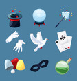 magician icons set surprise vector image