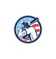 American Baseball Batter Hitter Circle Retro vector image