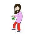 Comic cartoon hippie man with bag of weed vector image
