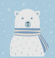 polar white bear with scarf falling snow vector image