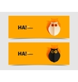Set of two banners with owl cut out vector image