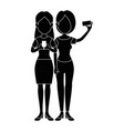 girls taking a selfie icon vector image
