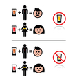 People drinking alcohol - sad and happy face icons vector image vector image