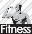 Fitness gym logo mockup grey bodybuilder showing vector image