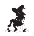 Little witch and pumpkin silhouette vector image