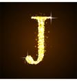 Alphabets J of gold glittering stars vector image