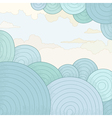 Abstract background with circles and clouds vector image